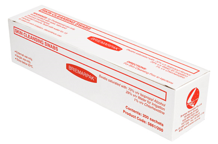 Alcohol Wipes + Chlorhexidine 1% - Skin Cleaning