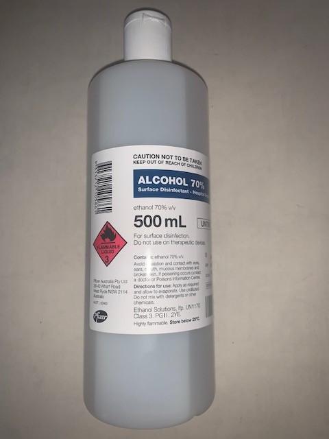 Ethanol Alcohol 70% Untinted - 500ml - Pfizer